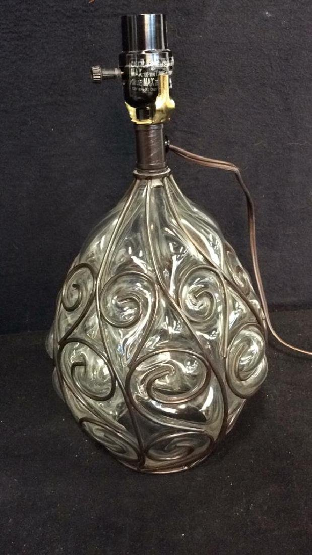 Glass W Curling Metal Overlay Lamp - 2