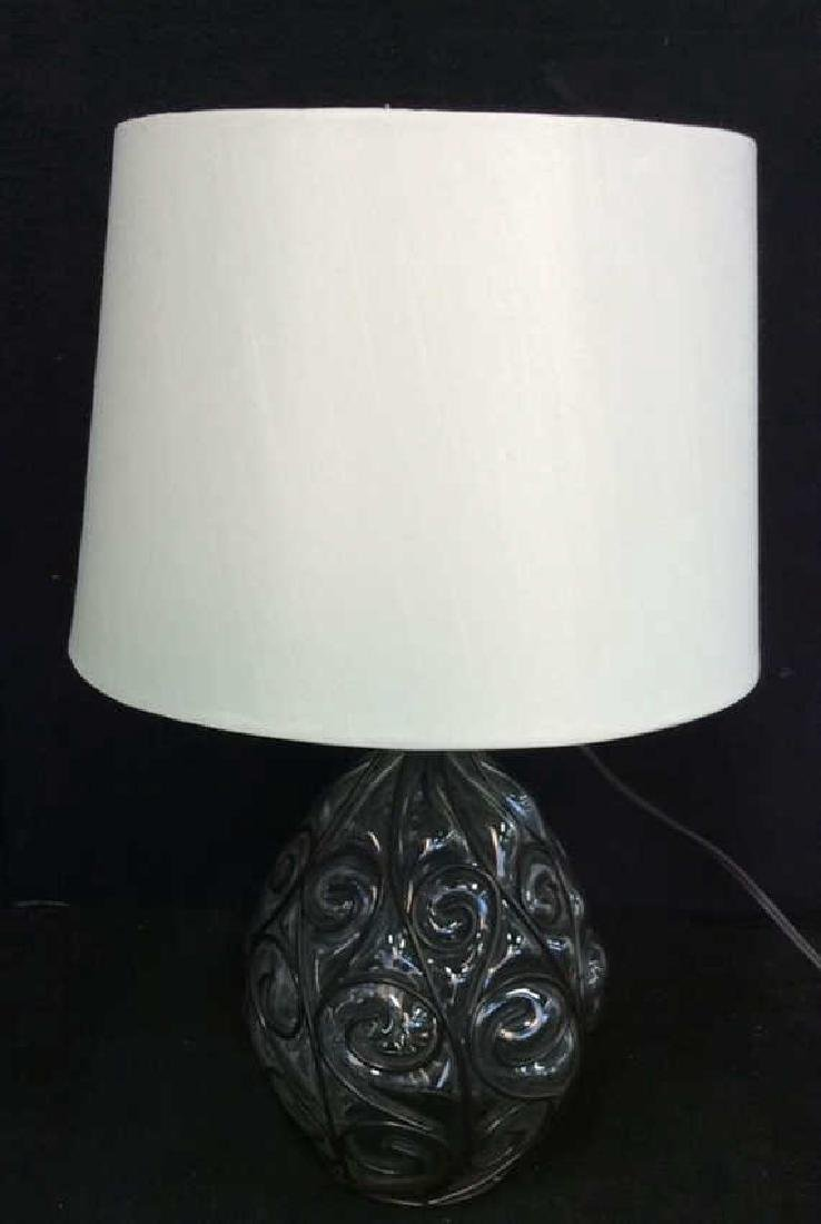 Glass W Curling Metal Overlay Lamp - 8