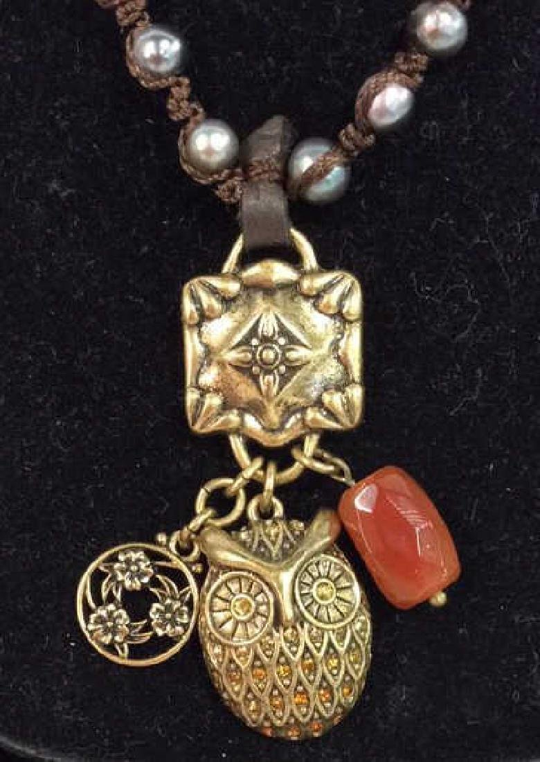 Chain Necklace W Owl and Natural Stone Pendant