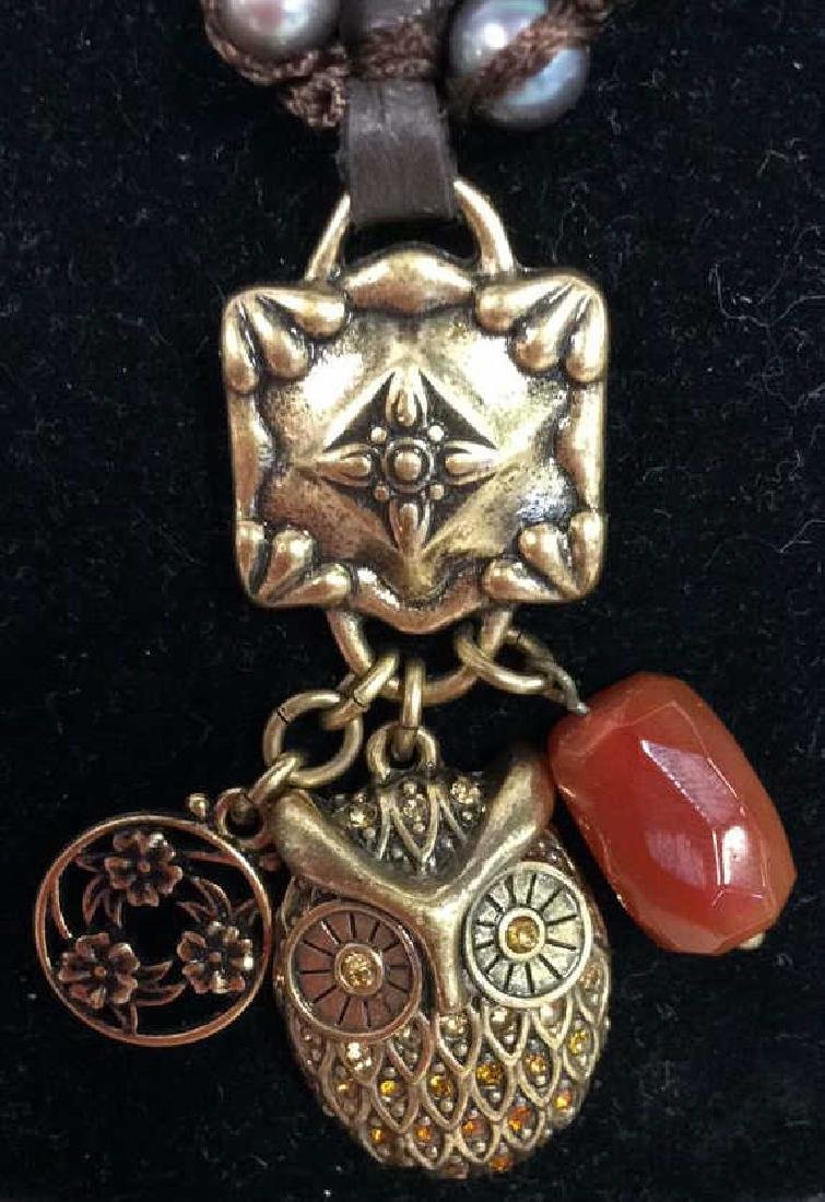 Chain Necklace W Owl and Natural Stone Pendant - 3