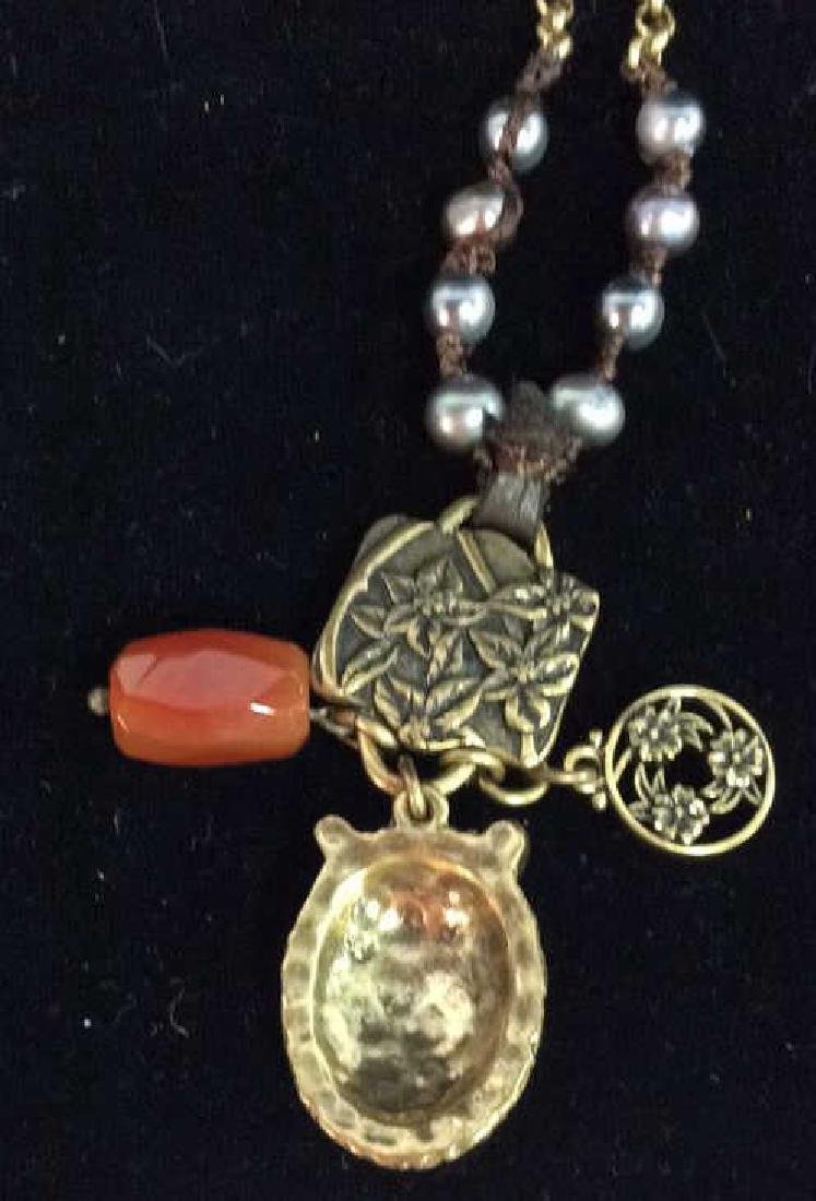 Chain Necklace W Owl and Natural Stone Pendant - 5