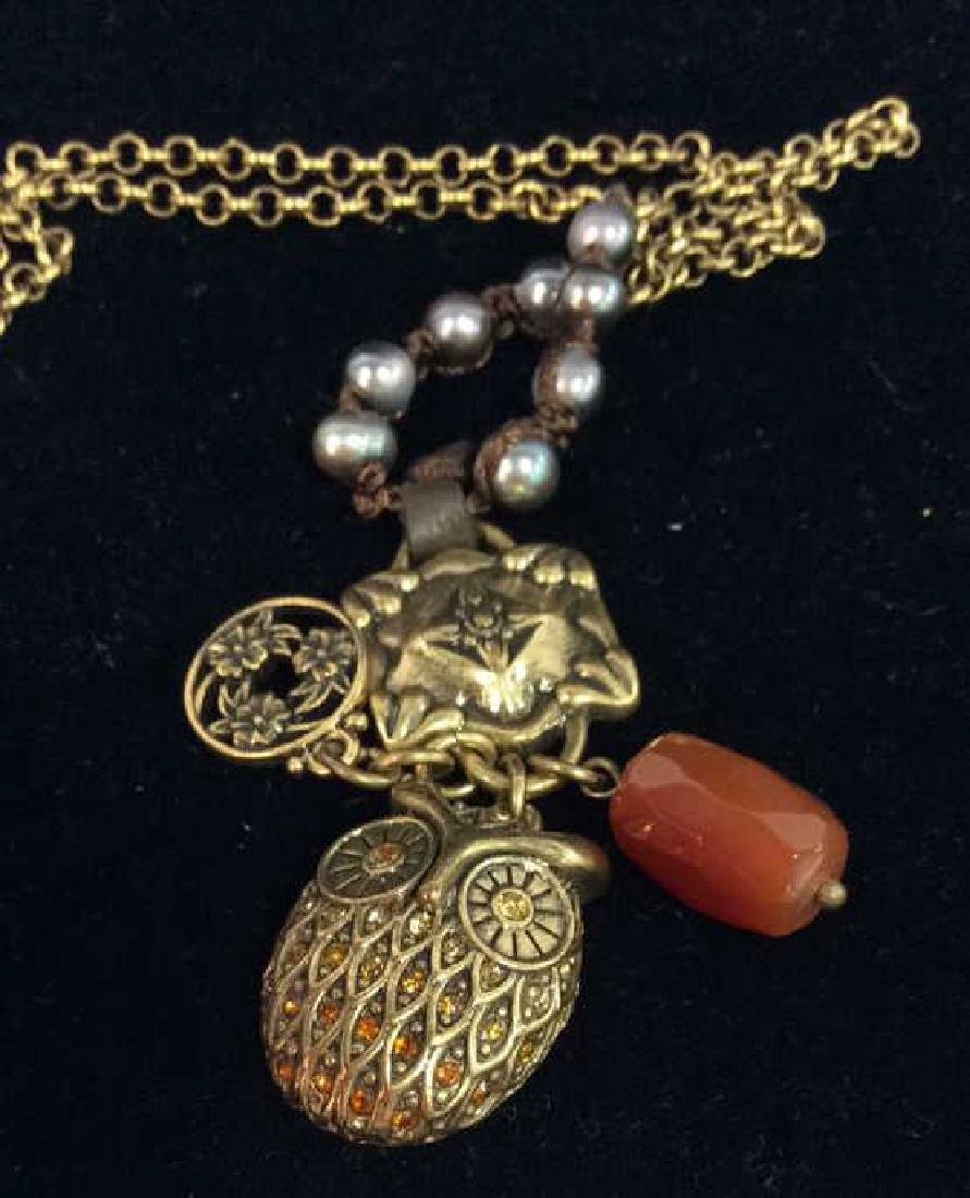 Chain Necklace W Owl and Natural Stone Pendant - 6