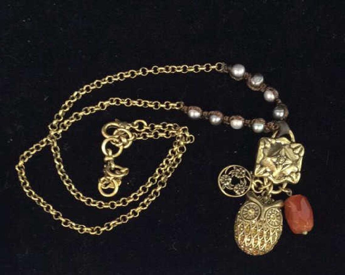 Chain Necklace W Owl and Natural Stone Pendant - 8