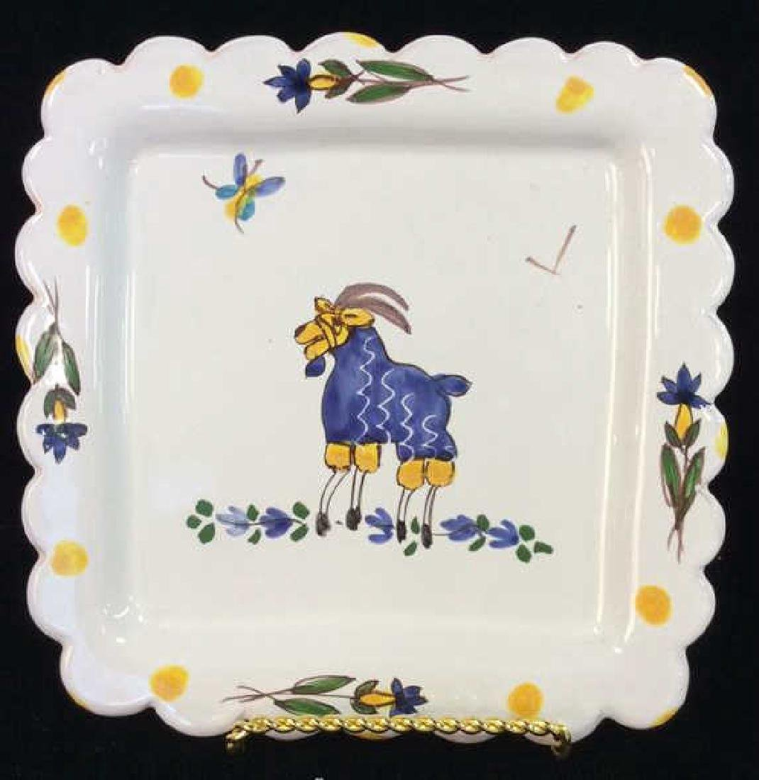 White  Painted Sheep Porcelain Decorative Plate