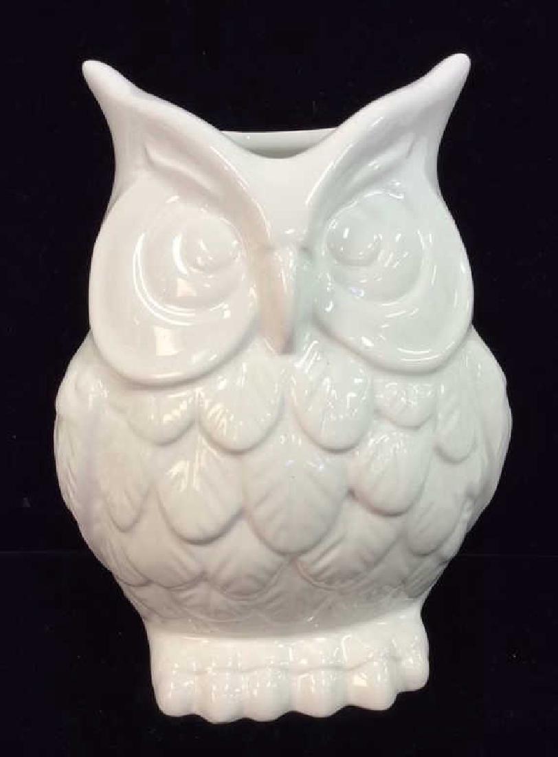 Owl Figural Porcelain Ceramic Vase