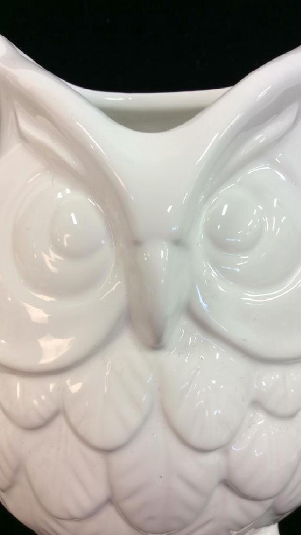 Owl Figural Porcelain Ceramic Vase - 2