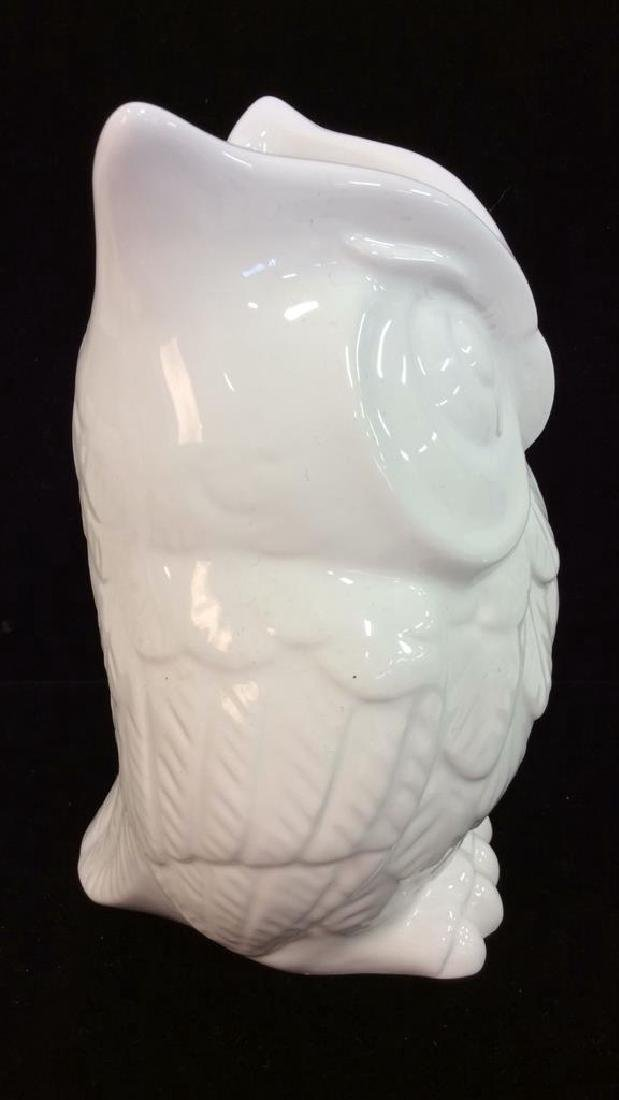 Owl Figural Porcelain Ceramic Vase - 3