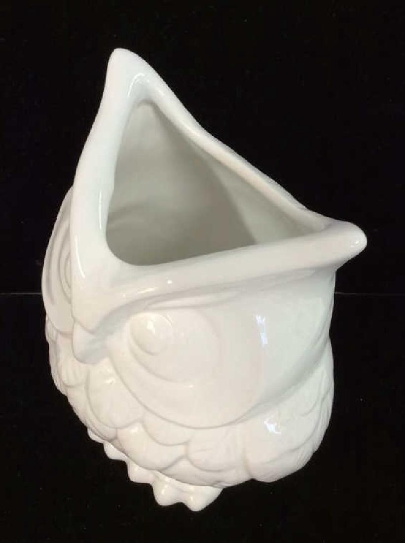 Owl Figural Porcelain Ceramic Vase - 6