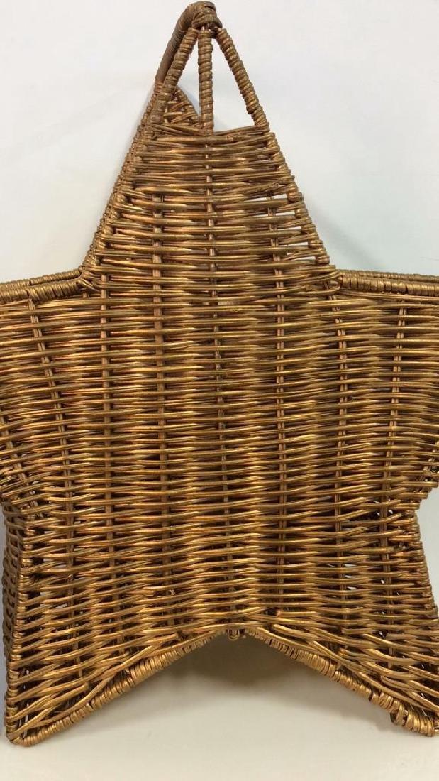 Star Shaped Woven Handled Basket - 2