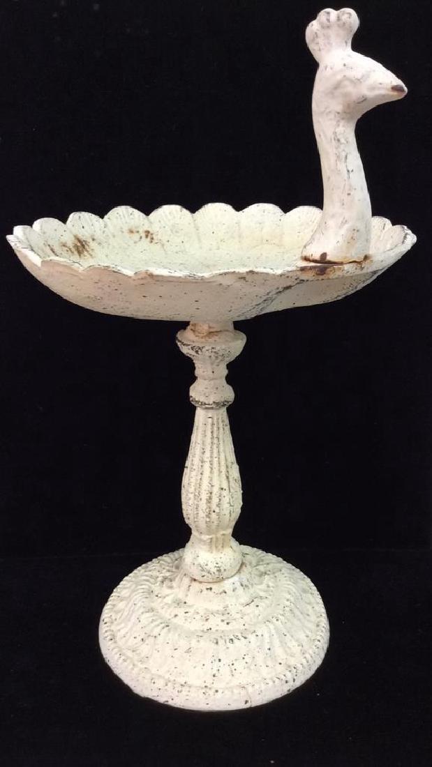 Beige Toned Metal Pedestal Bird Trinket Dish