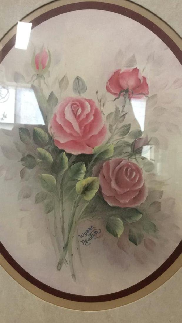 Lot 2 Wyona Newton Framed Floral Artwork Print - 3