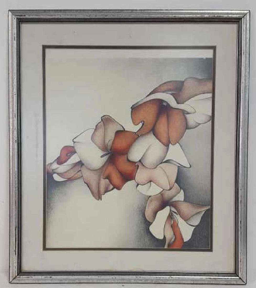 Still Life Floral Drawing Framed and Matted
