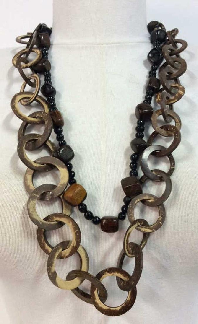 Pair Wooden Beaded Necklaces Jewelry