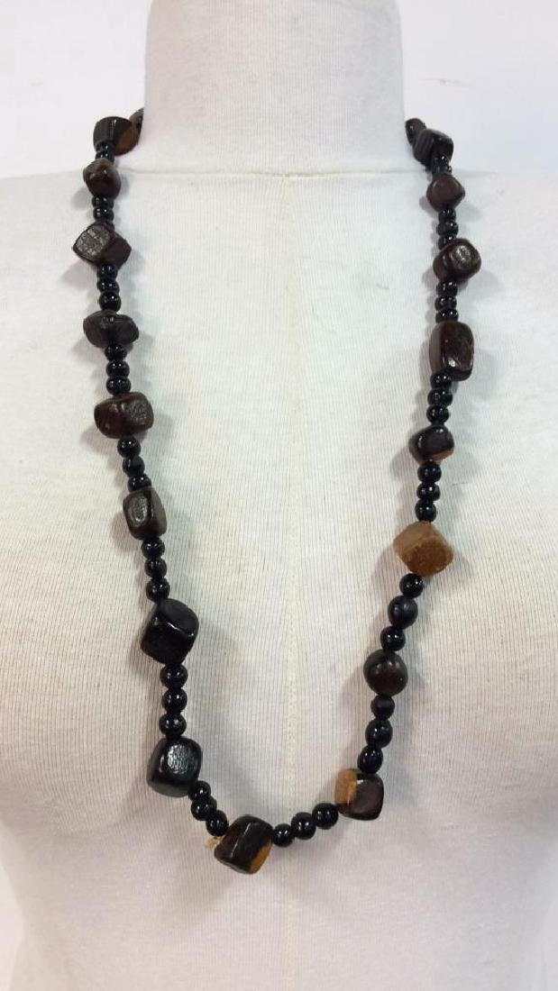 Pair Wooden Beaded Necklaces Jewelry - 3