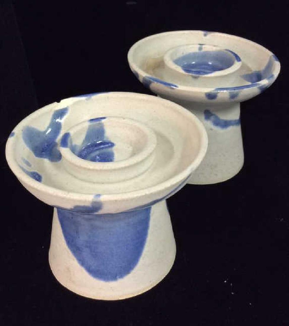 Lot 3 Signed Ceramic Candlesticks - 2