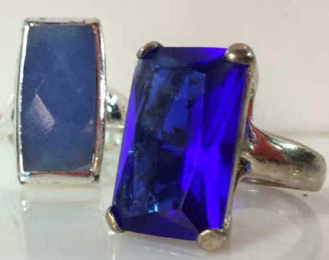 Pair Silver Toned Metal Rings W Faux Stones - 2