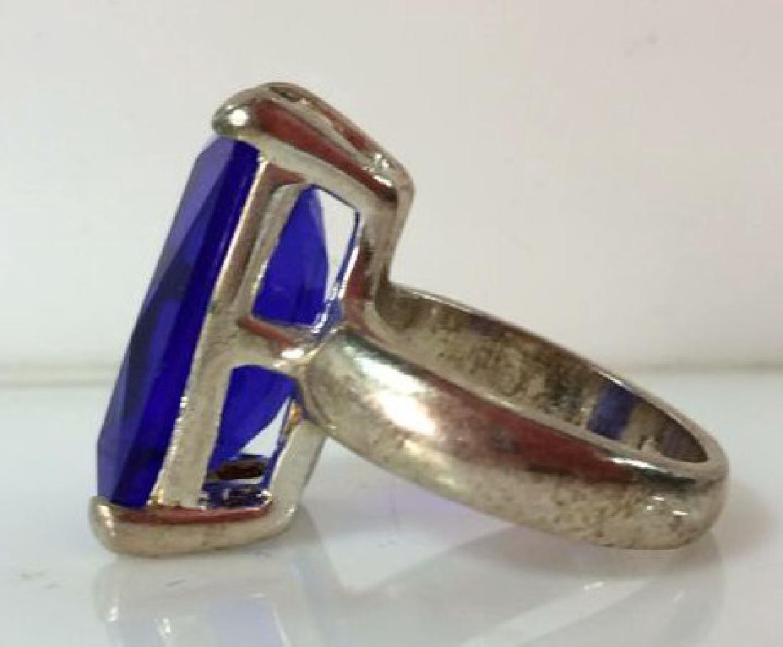 Pair Silver Toned Metal Rings W Faux Stones - 3