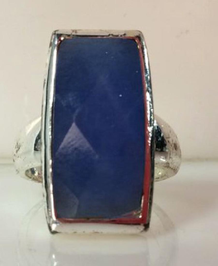 Pair Silver Toned Metal Rings W Faux Stones - 7