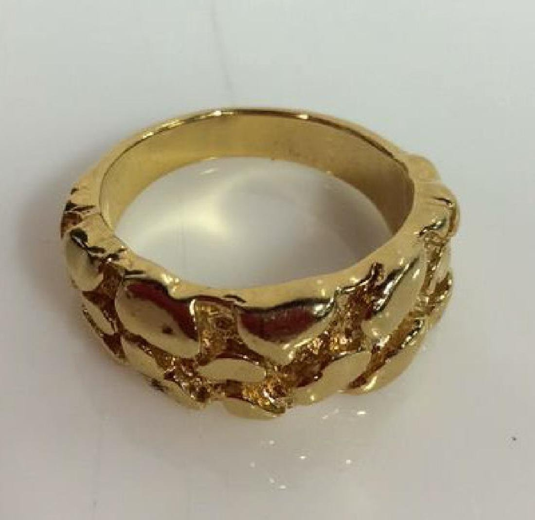 Pair Gold Toned Metal Rings Jewelry - 7