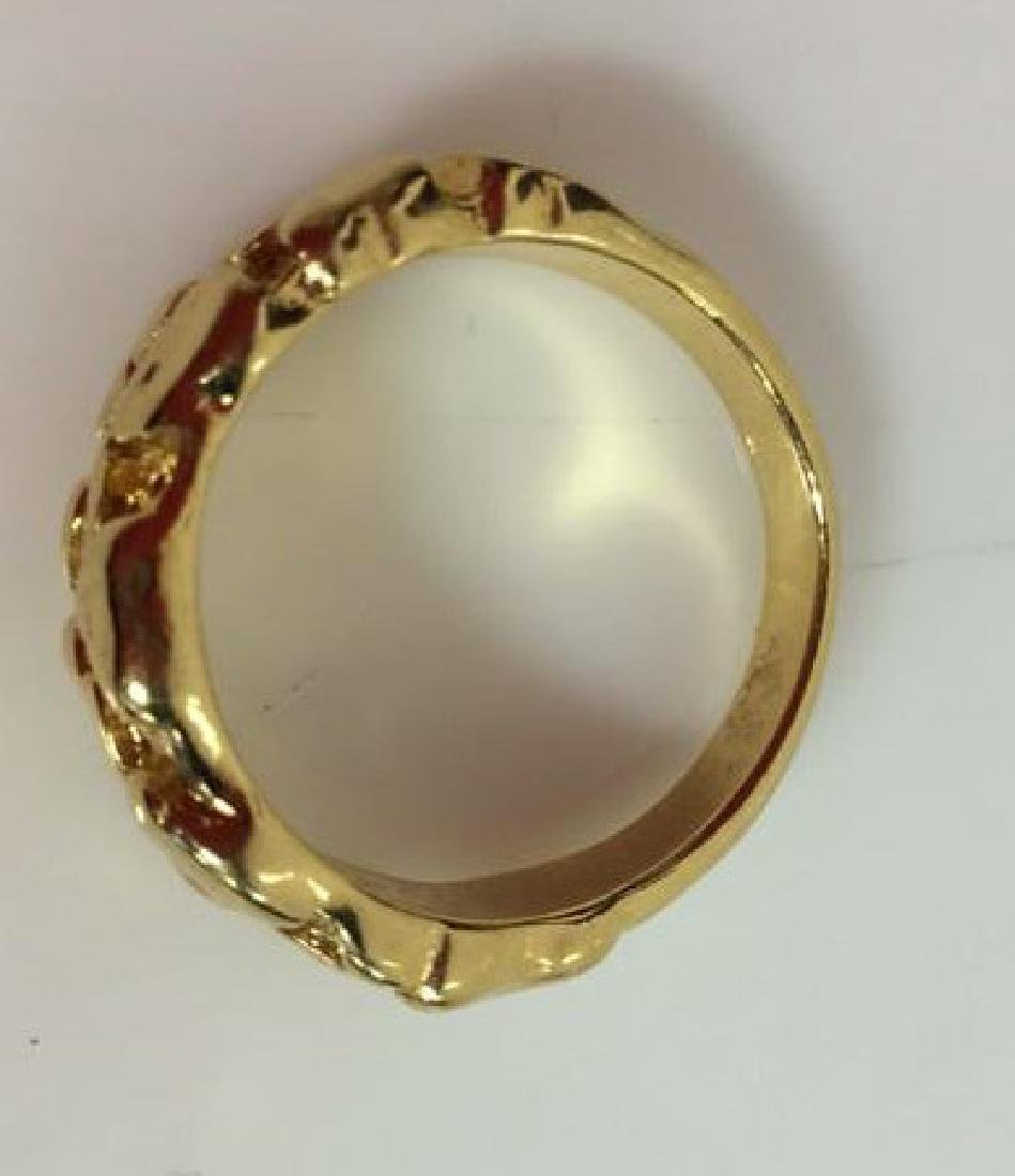 Pair Gold Toned Metal Rings Jewelry - 9