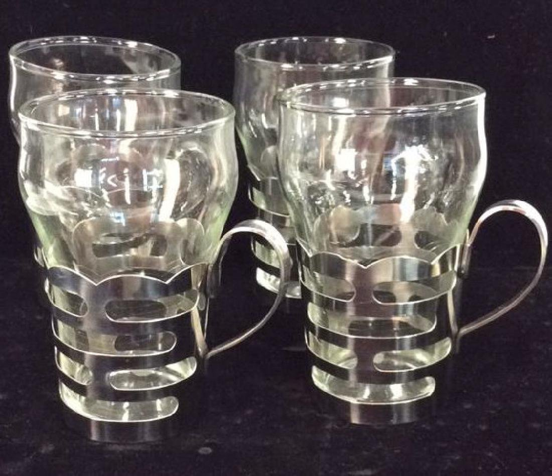 Set 4 Drinking Glasses W Silver Toned Metal