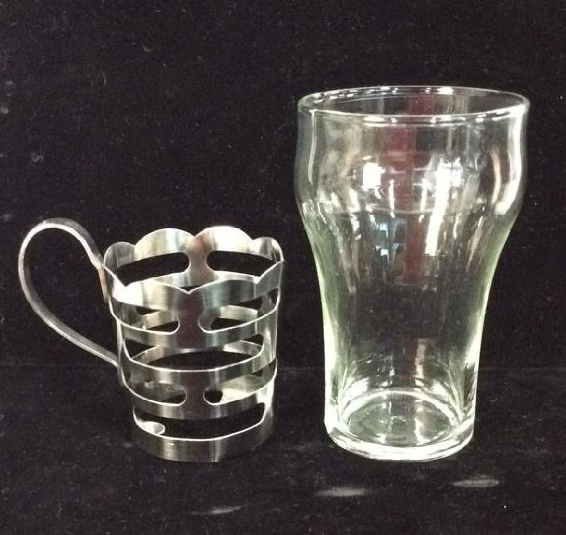 Set 4 Drinking Glasses W Silver Toned Metal - 5