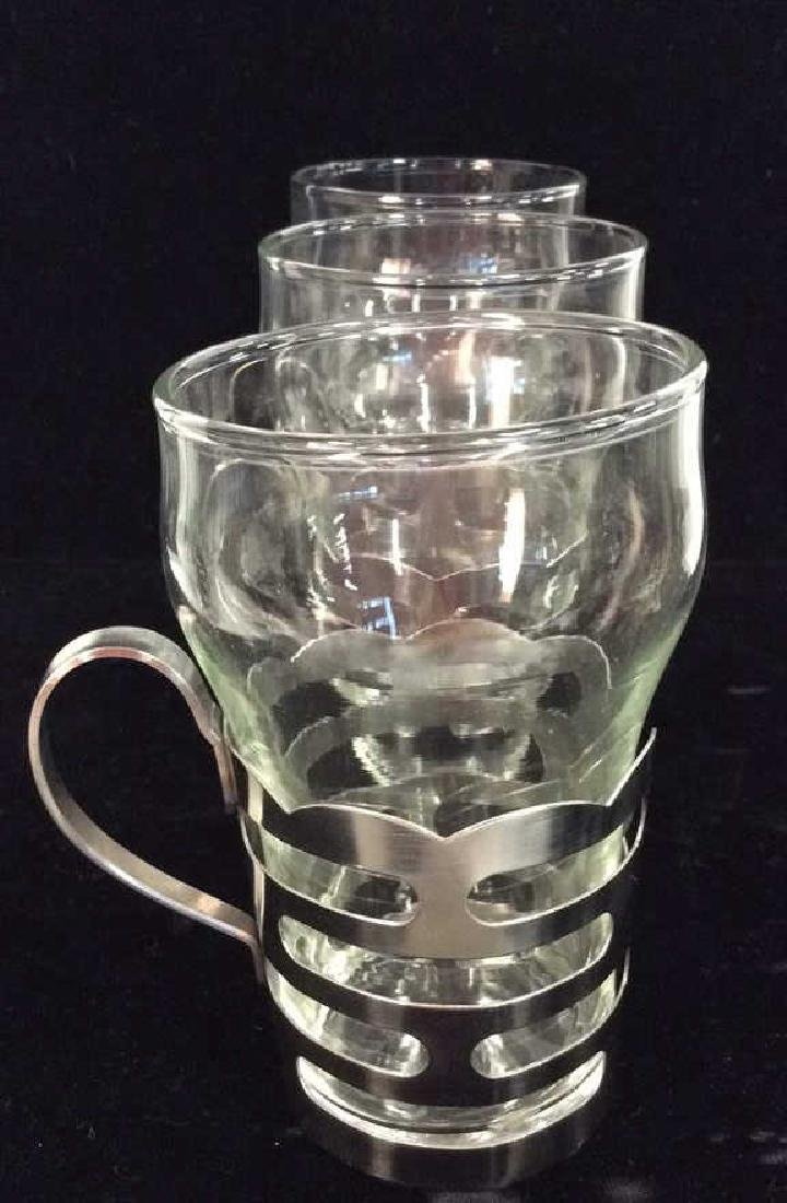 Set 4 Drinking Glasses W Silver Toned Metal - 6