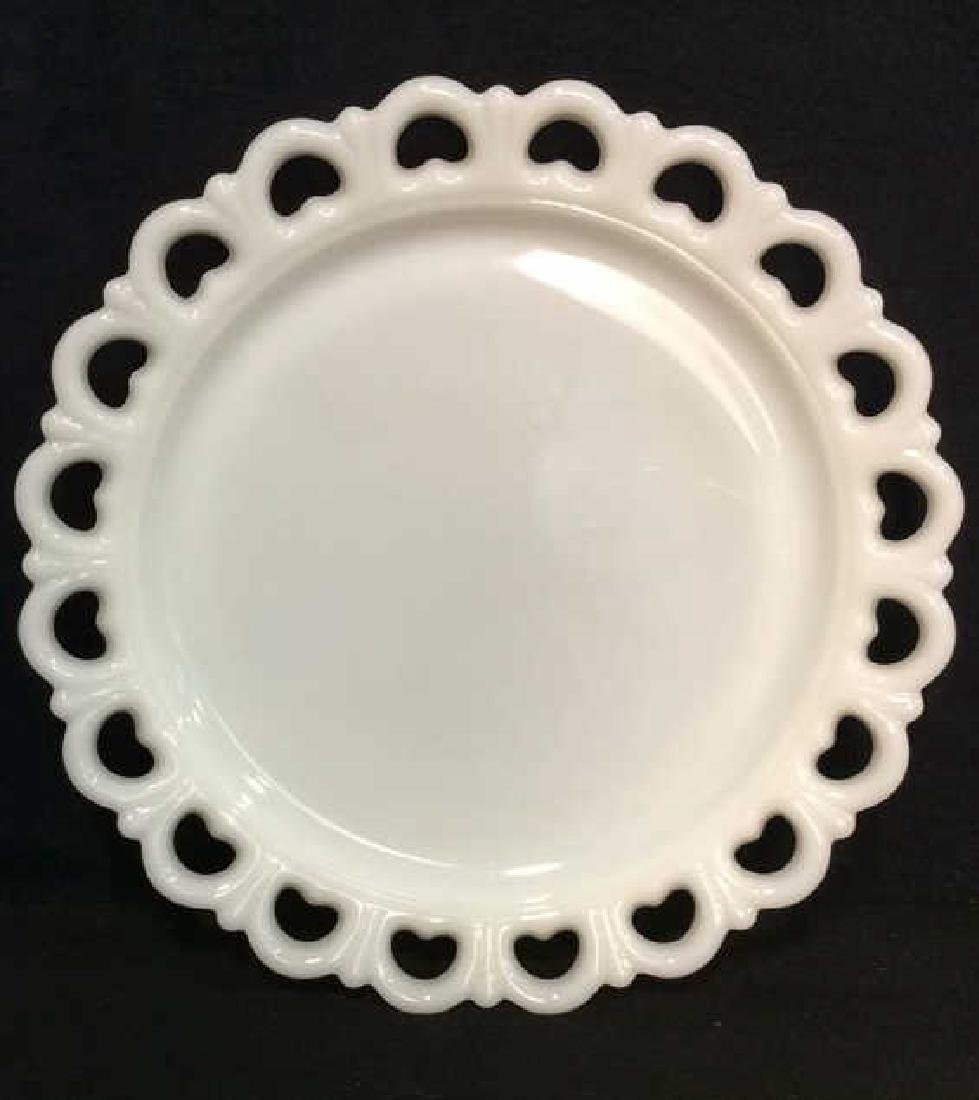 Milk Glass Pierced and Scalloped Serving Dish