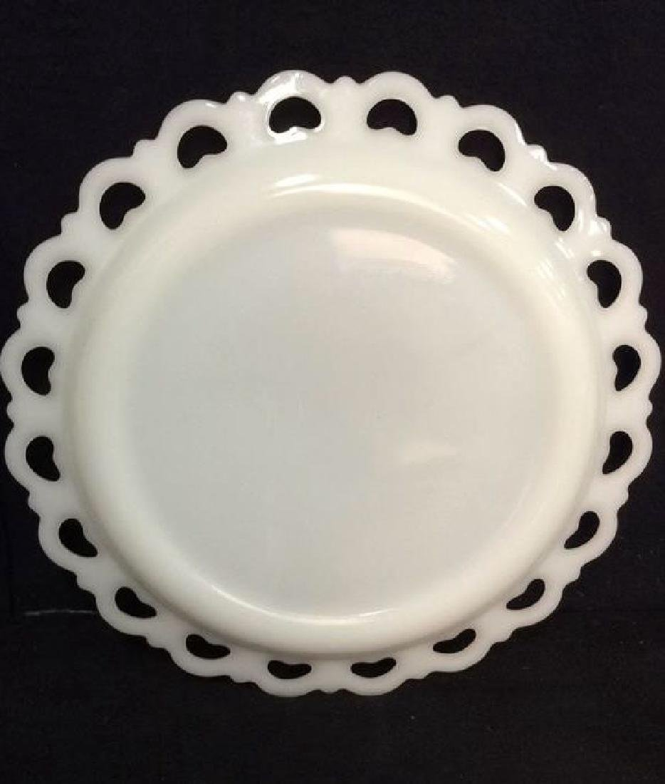 Milk Glass Pierced and Scalloped Serving Dish - 5