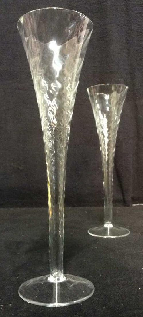 Pair Crystal Swirl Champagne Toasting Flutes - 2