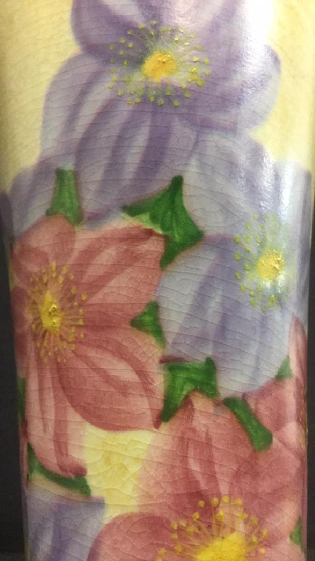 Ceramic Floral Detailed Painted Vase - 4
