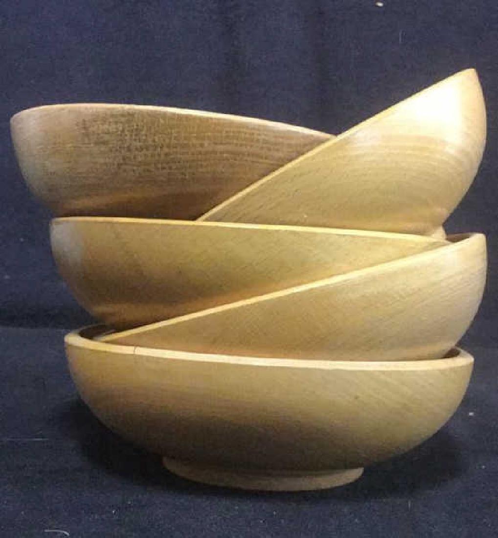 Lot 5 Tan Toned Wooden Bowl