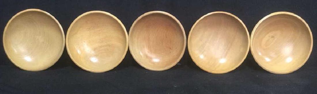 Lot 5 Tan Toned Wooden Bowl - 2