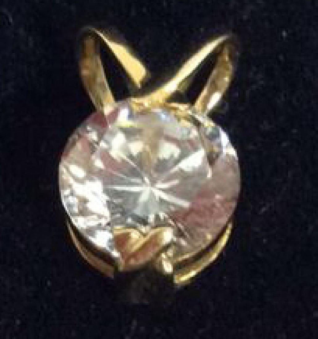 14K Gold Pendant W Cubic Zirconia