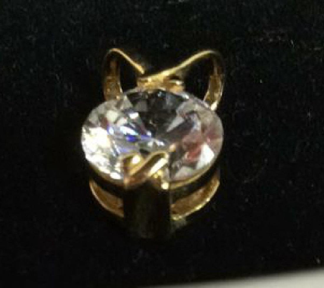 14K Gold Pendant W Cubic Zirconia - 2