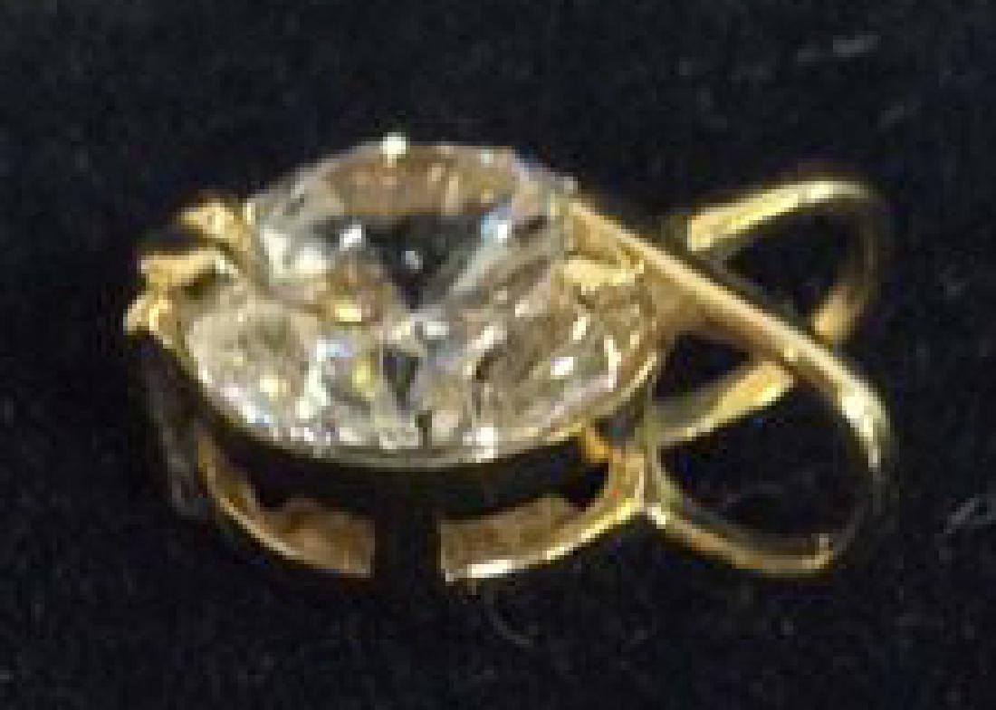 14K Gold Pendant W Cubic Zirconia - 3