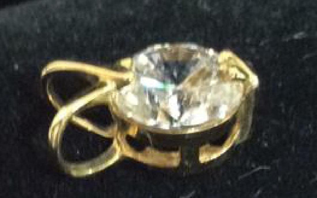 14K Gold Pendant W Cubic Zirconia - 5