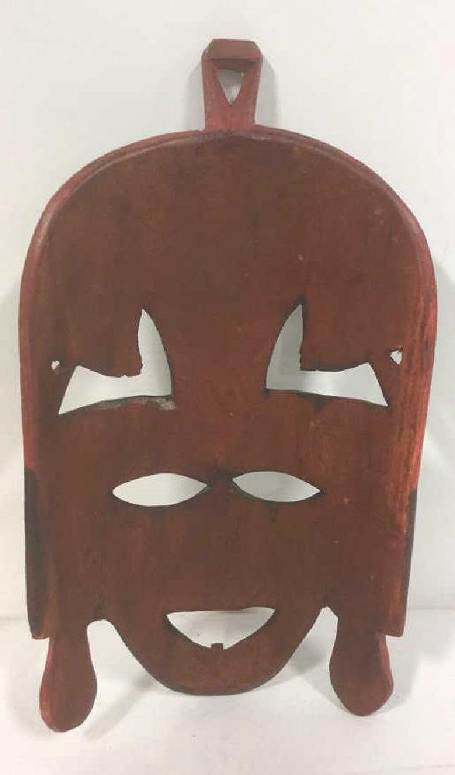 African Style Carved Wooden Mask - 6