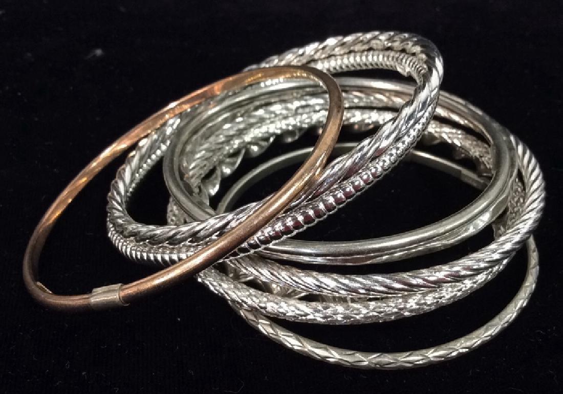 Lot 10 Assorted Sterling Silver Bangle Bracelets