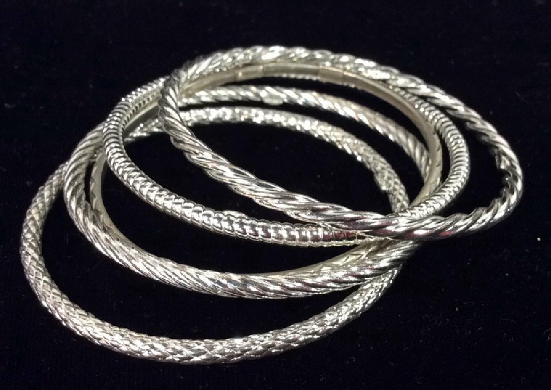 Lot 10 Assorted Sterling Silver Bangle Bracelets - 2