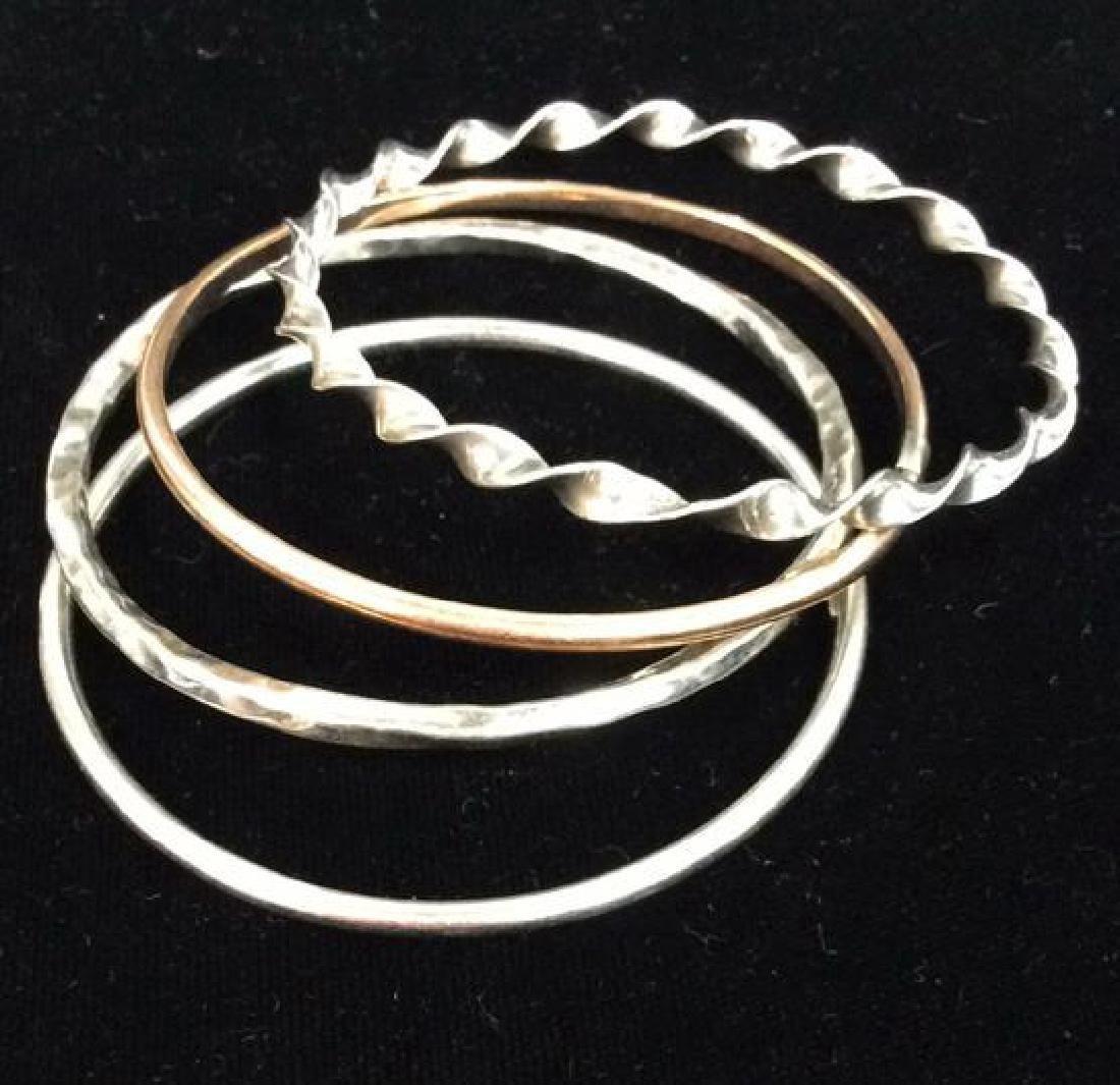 Lot 10 Assorted Sterling Silver Bangle Bracelets - 4