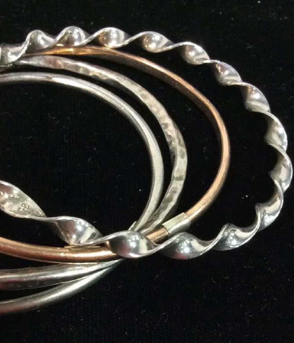Lot 10 Assorted Sterling Silver Bangle Bracelets - 5