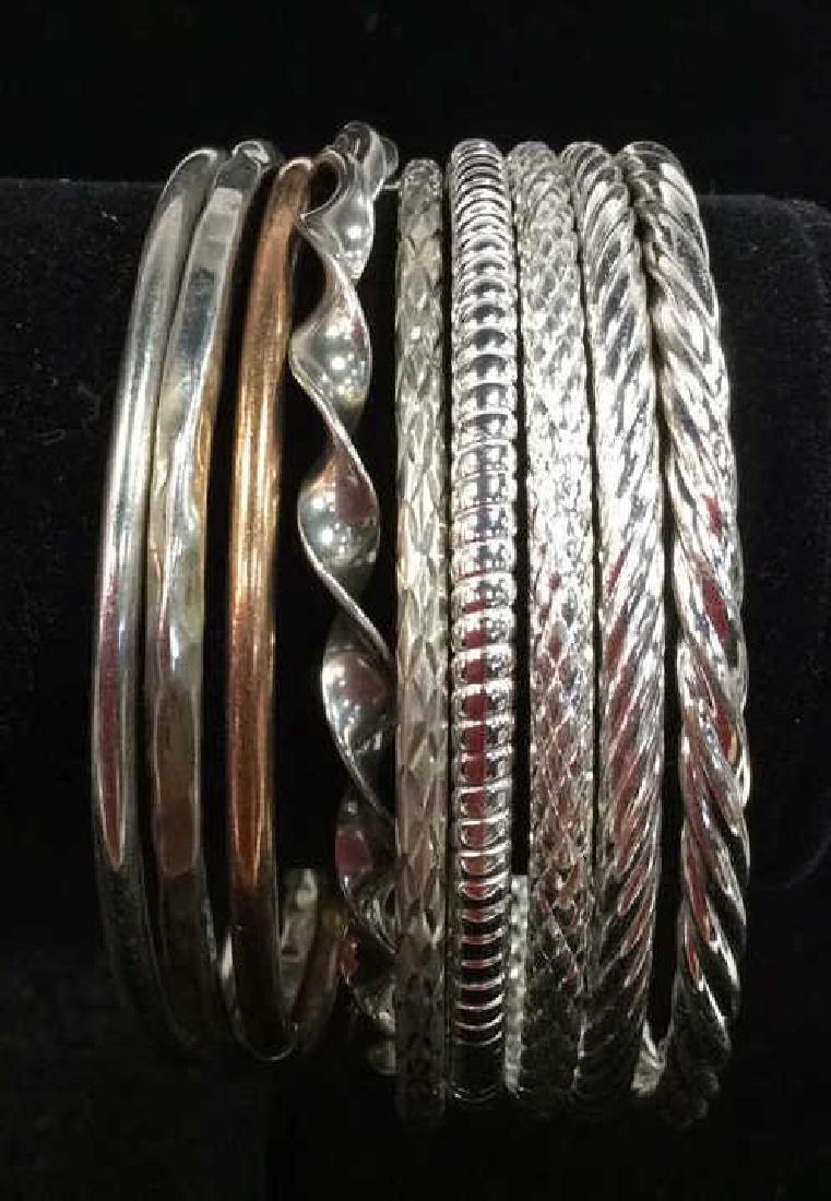 Lot 10 Assorted Sterling Silver Bangle Bracelets - 7