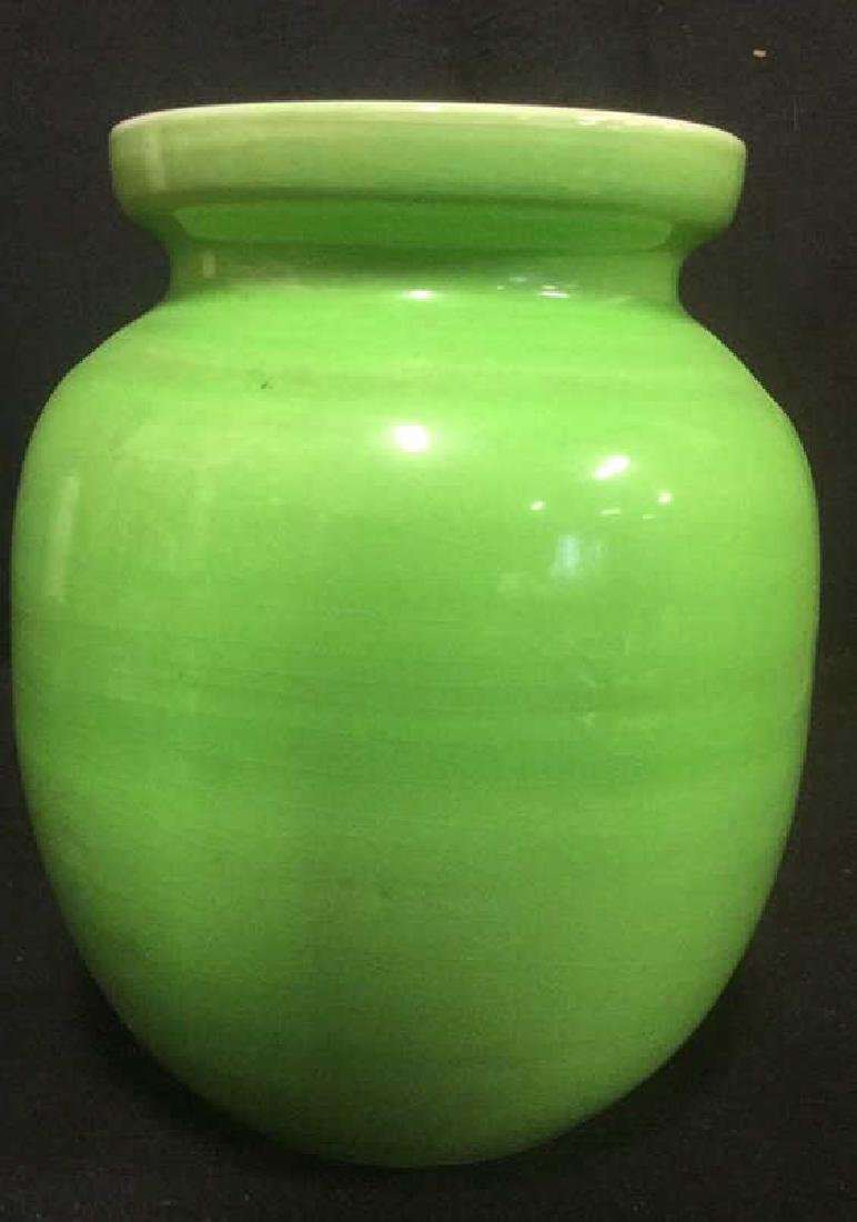 Lime Green Toned Ceramic Jar