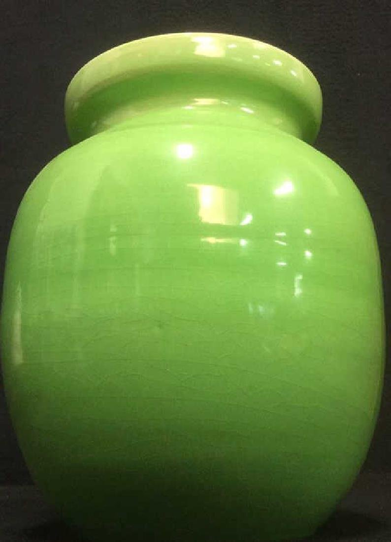 Lime Green Toned Ceramic Jar - 2