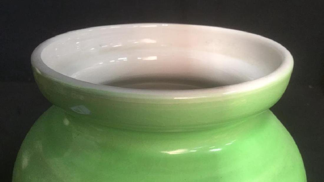 Lime Green Toned Ceramic Jar - 5