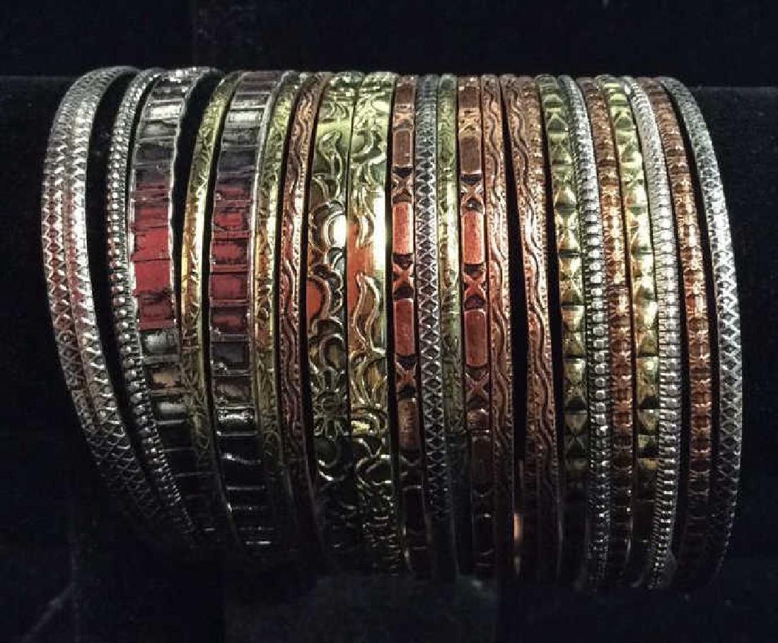 Lot 24 Thin Metal Bangle Bracelets Jewelry