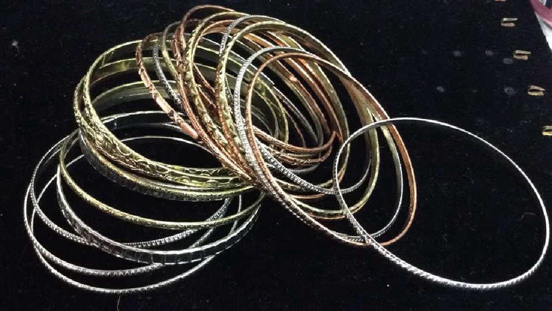 Lot 24 Thin Metal Bangle Bracelets Jewelry - 2