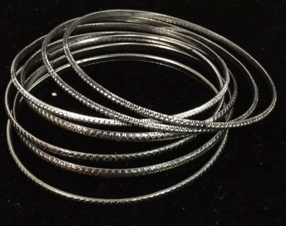 Lot 24 Thin Metal Bangle Bracelets Jewelry - 7