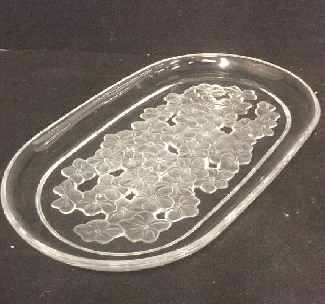 Frosted Floral Detailed Glass Serving Plate - 5